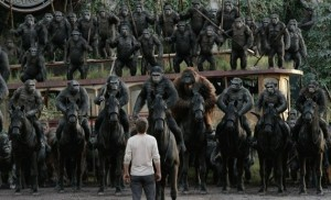 Jason Clarke with a bunch of apes